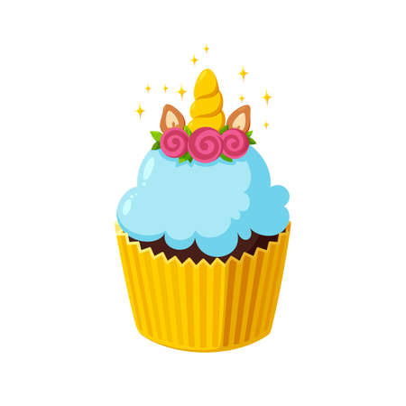 Unicorn cupcake with light blue icing. Fairy cake in paper cup. Tasty dessert with horn. Illustration in cute cartoon style