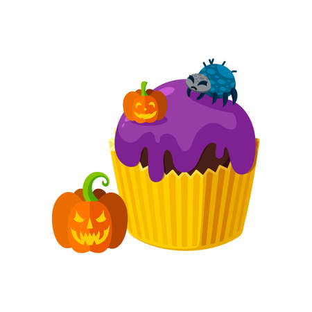 Halloween cupcake with spider and pumpkins. Orange and violet dessert for spooky halloween party. Vector illustration in cute cartoon style Stock Illustratie