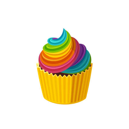 Rainbow cupcake with colorful icing. Fairy cake in paper cup. Tasty dessert with rainbow colored frosting. Illustration in cute cartoon style