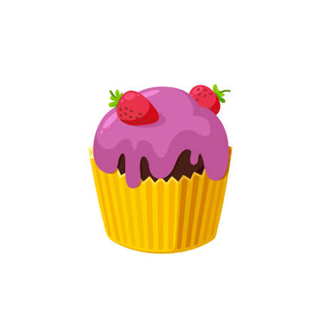 Cupcake with strawberry and pink icing. Fairy cake in paper cup. Tasty dessert with colored frosting.  Illustration in cute cartoon style