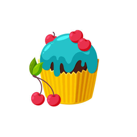 Cupcake with cherry and blue icing. Fairy cake in paper cup. Tasty dessert with shiny frosting.  Illustration in cute cartoon style