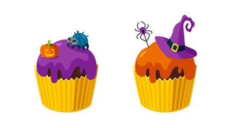 Halloween cupcakes with spiders, pumpkin and witch hat. Colorful dessert for spooky Halloween party. Vector illustration in cute cartoon style