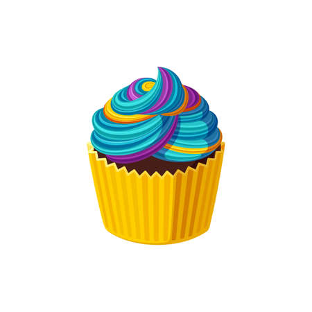 Rainbow cupcake with colorful icing. Swirled cream. Tasty dessert with blue rainbow frosting.  Illustration in cute cartoon style Stock Illustratie