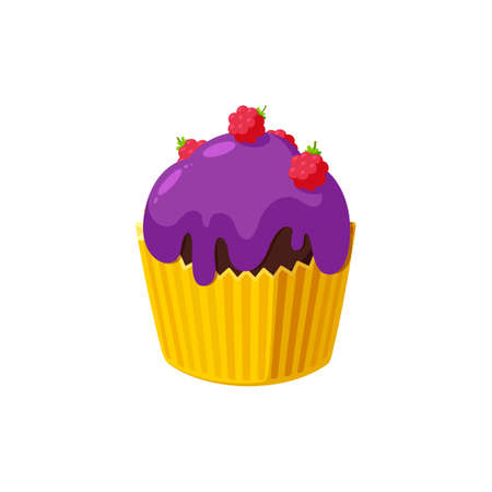 Cupcake with raspberry and violet icing. Fairy cake in paper cup. Tasty dessert with colored frosting. Vector illustration in cute cartoon style Stock Illustratie