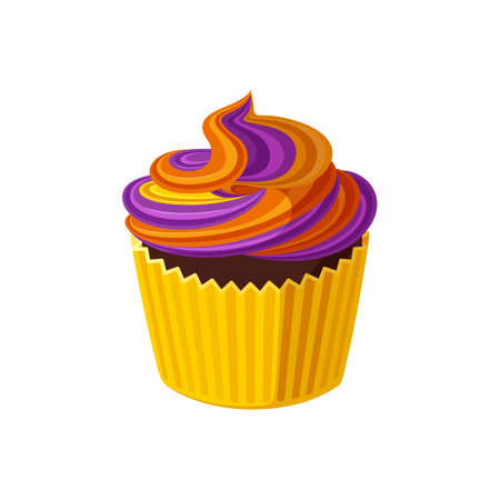 Halloween cupcake with swirled icing. Muffin with purple and orange frosting for Halloween party. Vector illustration in cute cartoon style