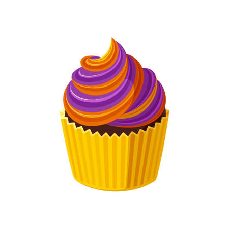 Halloween cupcake with swirled cream. Orange and purple treat for Halloween party. Vector illustration in cute cartoon style
