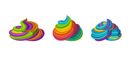 Swirled rainbow icing. Tasty cream for tarts and cupcakes.  Illustration in cute cartoon style