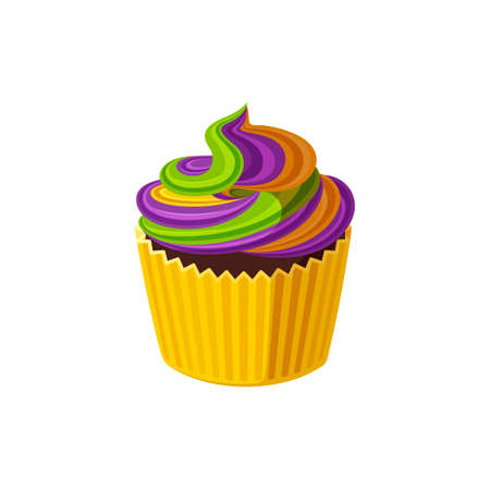 Cupcake with swirled cream. Tasty birthday dessert with purple, yellow and green rainbow frosting.  Illustration in cute cartoon style