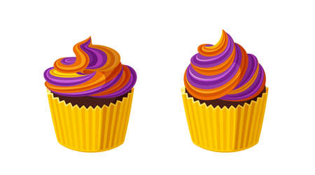 Halloween cupcakes with swirled icing. Muffins with violet and orange frosting for Halloween party. Vector illustration in cute cartoon style