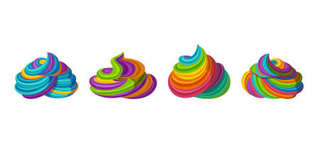 Swirled rainbow frosting for icecream and cupcakes. Tasty cream isolated in white background. Vector illustration in cute cartoon style Ilustración de vector