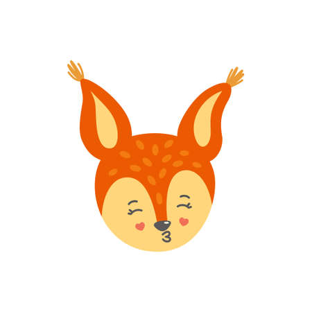 Squirrel head as kissing emoji. Emoticon in love. Vector illustration of squirrel in flat style