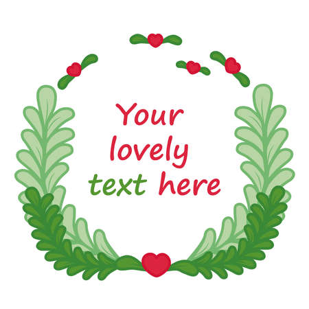 Frame made of leaves and hearts for a text. Vector illustration in cartoon style