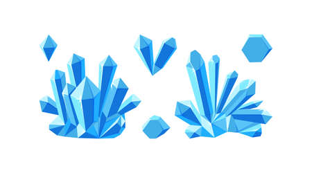 Ice crystals isolated in white background. Set of druses and separate crystals made of blue mineral. Vector illustration in cartoon style