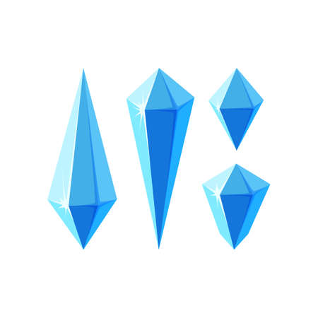 Ice crystals in form of prisms or gem stones. Set of minerals or frozen pieces of ice for game design. Vector illustration in cartoon style