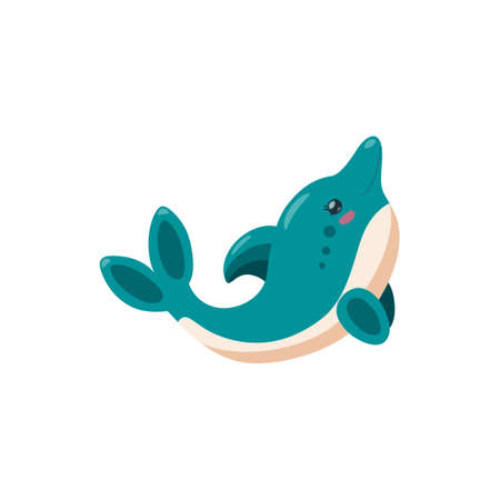 Dolphin isolated in white background. Cute playful baby dolphin for kids product designs. Vector illustration in cartoon sryle