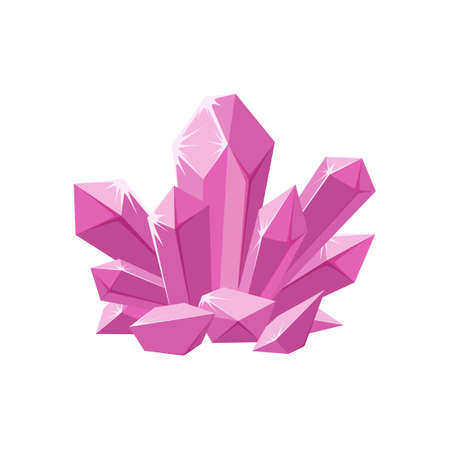 Pink crystals or gemstones. Shimmering crystal jewel with magic sparkles isolated in white background. Vector illustration in cartoon style Vector Illustratie