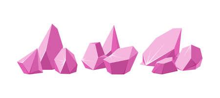 Crystals broken into pieces. Set of smashed pink crystals. Broken gemstones or pink rocks. Vector illustration in cartoon style