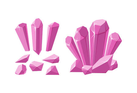 Crystals and gemstones of different shapes. Set of pink stalagmite, crystals and pieces of ruby rock. Vector illustration in cartoon style