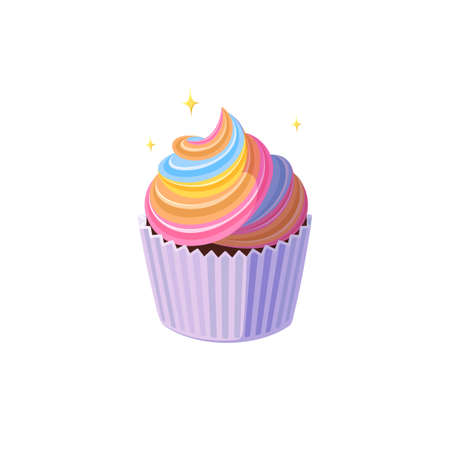 Rainbow cupcake with colorful icing. Shining fairy cake in paper cup. Tasty dessert with rainbow colored frosting. Vector illustration in cute cartoon style