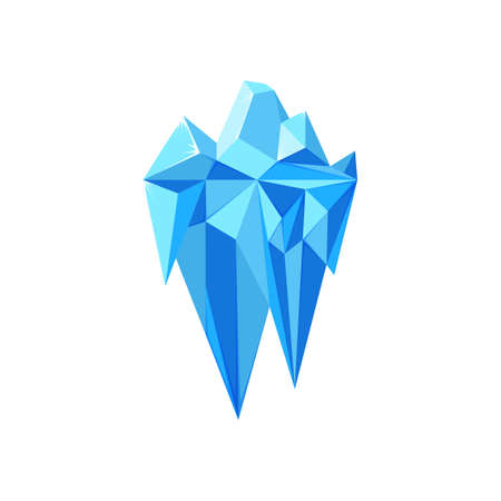 Iceberg visible and invisible parts isolated in white background. Polygonal geometric iceberg. Vector illustration of blue floating glacier