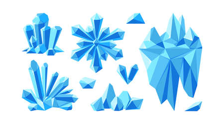 Iceberg with crystals and snowflake for arctic landscapes. Set of crystal gems and stones for game design. Vector illustration in cartoon style Stock Illustratie