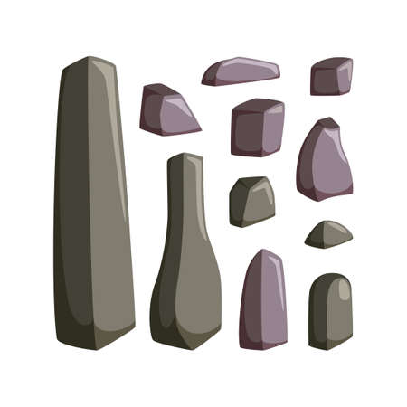 Mountain rocks with boulders. Set of granite and other solid stones for rocky landscape. Vector illustration in cartoon style Çizim