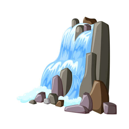 Waterfall cascade in rocks. Water splashing down with foam. Vector illustration of falling river in cartoon style Ilustração