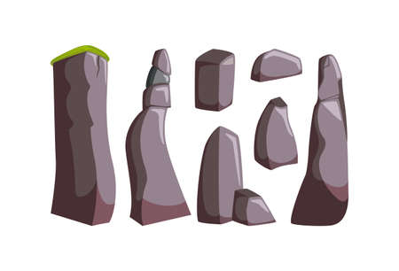 Mountain rocks with boulders. Set of isometric granite and other stones for rocky landscape. Vector illustration in cartoon style
