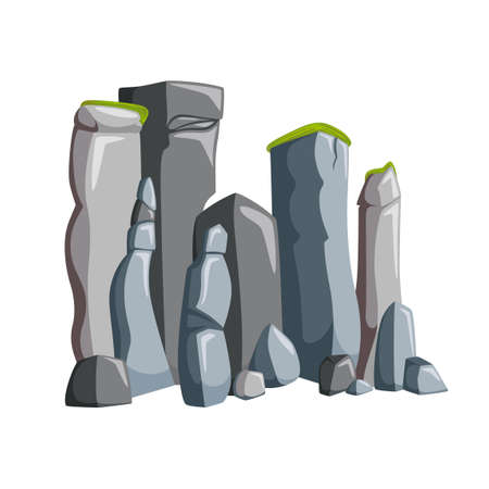 Mountain rocks with boulders. Rocky landscape with granite and other stones. Vector illustration in cartoon style
