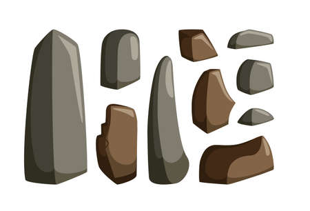 Mountain rocks with boulders. Set of granite and other stones of various shapes for rocky landscape. Vector illustration in cartoon style Ilustração
