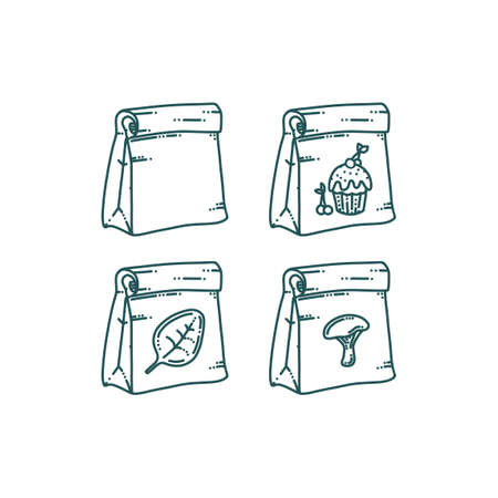 Paper bag with different prints. Takeaway paper bag with food or other products. Vector illustration
