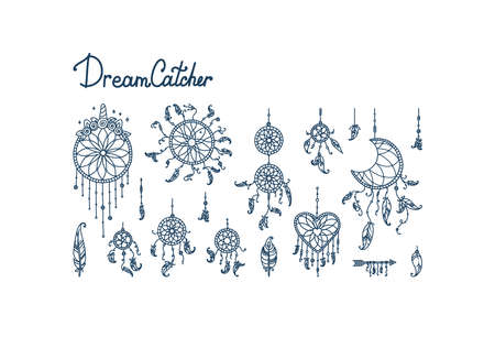Boho dreamcatchers with feathers and arrow. Big set with dreamcatchers in shape of crescent moon, heart and circles. Vector illustration in doodle style