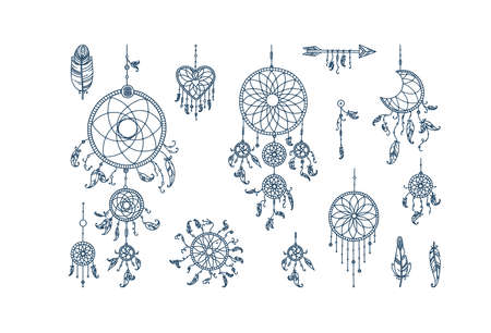 Dreamcatchers with feathers and arrows. Set of mystic dreamcatchers and feathers. Vector illustration in doodle style