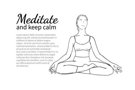 Meditationg woman with text block for banner or brochure. Calming and relaxing improving yoga pose. Hand drawn sketch vector illustration isolated on white background
