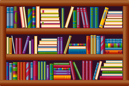 Bookcase in the library. Bestseller bookshop in cartoon style. Vector illustration isolated on white background
