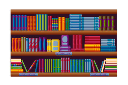 Bookstore rack with bestsellers and sale options. Shelves in cartoon style. Vector illustration on white background