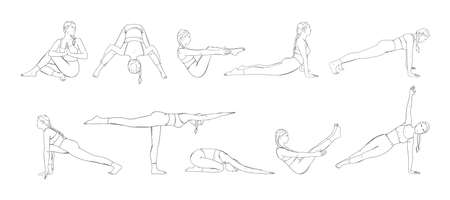 Yoga asana set with woman in different poses. Yogi girl full body workout including core muscles, legs and arms. Sketch vector illustration isolated in white background Vector Illustration