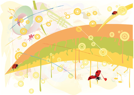 abstract drawing and ladybirds Vector