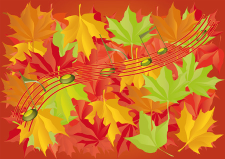autumn leaves and musical notes Vector