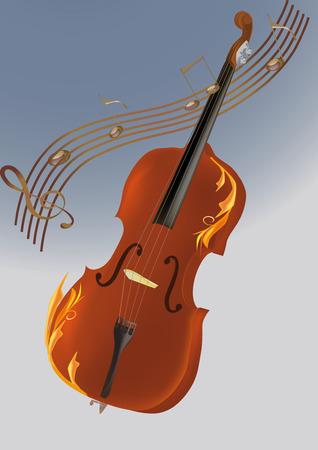 violin, musical notes and abstract drawing Vector