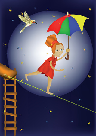 circus, the girl on a rope with a parasol and a bird