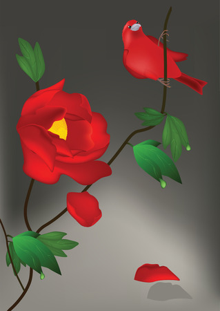 red flower and bird Vector