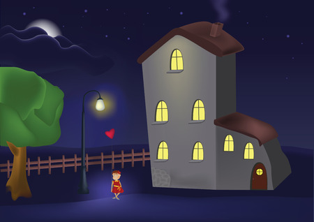 house a lantern and the little girl with a balloon Vector