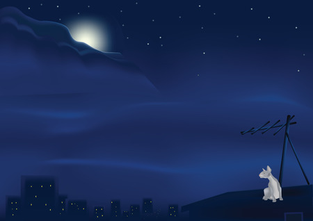 cat on an old roof at night and under the moon Vector