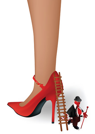 female foot in a red shoe and old devil with a ladder Vector