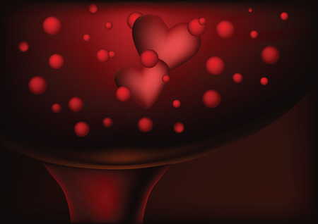 glass with a sparkling wine and hearts Vector
