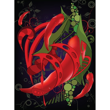 peppers: Abstract background with red Chilean pepper Illustration