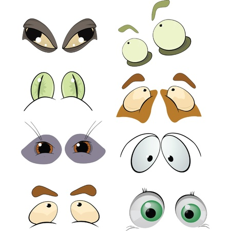 The complete set of the drawn eyes. Cartoon Stock Vector - 9849768