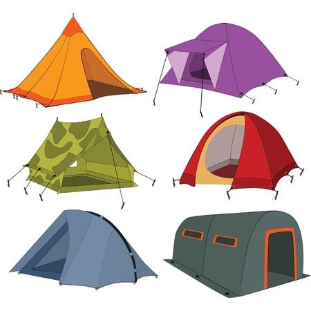 Set of tourist tents  Illustration