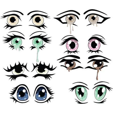 tears: The complete set of the drawn eyes. Clip Art